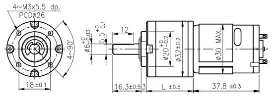 dc motor s u00e9rie pg320 s planetovou p u0159evodovkou